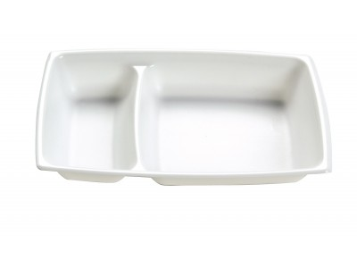 Entree Dish Disposable Rectangular High Heat 2-Cavity, White (1000 per case) - A45