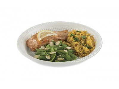 "NEW! 9"" High-Heat Disposable Entrée Plate, Round, Natural (500 per case) - A46"