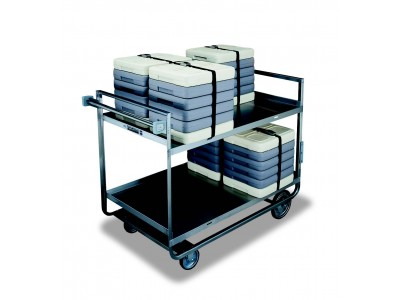 "Open Shelf ""Stacking"" Tray Delivery Cart -Slotted Shelves, Full Bead Welding, Heavy Duty Casters - J07B"