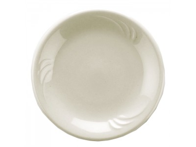 "Side Dish Ceramic Round 4"" Bread, White Embossed Design (36 per case) - J345"