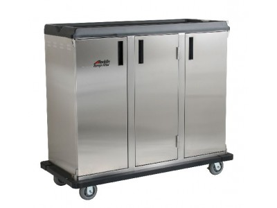 "Premium Meal Delivery Cart, 27 Tray Capacity, End Load Triple Door, 4.5"" Spacing"