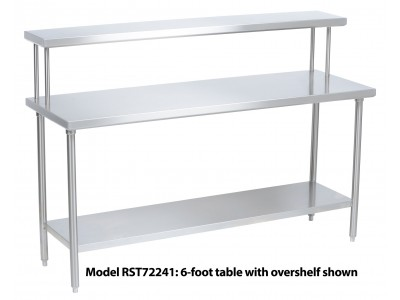 "Tray Assembly Table, 60"" x 24"", stainless steel with flat overshelf - RST60241"