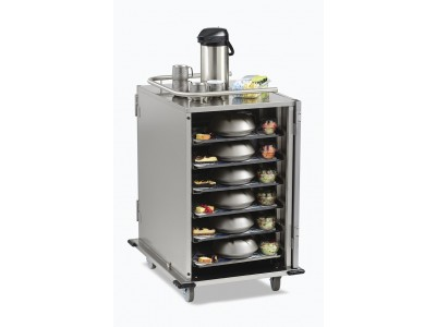 """12-Tray Stainless-Steel Room Service Cart, Low-Profile, 5.25"""" Tray Spacing with Upgrade Package - SC12S-525DPR"""