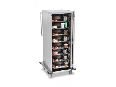 """8-Tray Stainless-Steel Room Service Cart, Space-Saving, 5.25"""" Tray Spacing -  SC8E-525"""