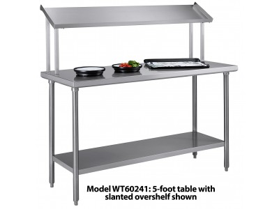 "Tray Assembly Table, 48""x24"", stainless steel with slanted over-shelf - WT48241"