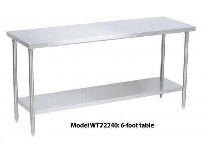 "Stainless Steel Work Table 72"" x 24"" - WT72240"