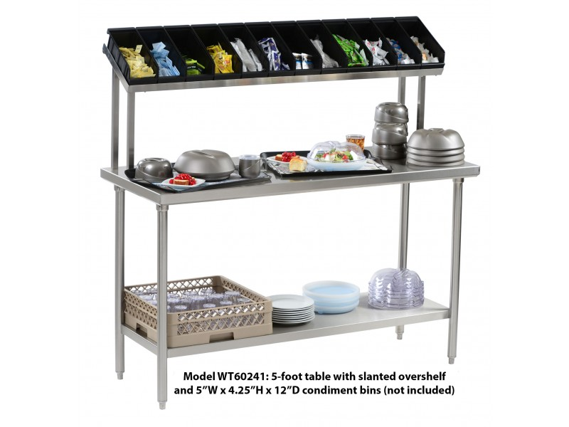Tray Assembly Table X Stainless Steel With Slanted Overshelf - 5 ft stainless steel table