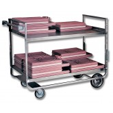 "Open Shelf ""Stacking"" Tray Delivery Cart, Slotted Shelves, Full Bead Welding - J05B"