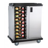 "Premium Meal Delivery Cart, 18 Tray Capacity, End Load, Double Door, 4.5"" Spacing"