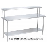"Tray Assembly Table, 48"" x 24"", stainless steel with flat overshelf - RST48241"