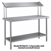"Tray Assembly Table, 72""x 24"", stainless steel with slanted overshelf - WT72241"