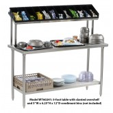 "Tray Assembly Table, 60""x24"", stainless steel with slanted overshelf - WT60241"