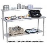 "Tray Assembly Table, 72"" x 24"", stainless steel with flat overshelf - RST72241"